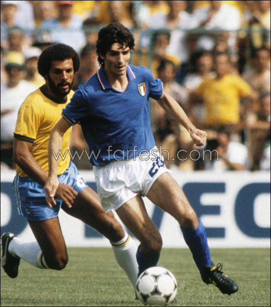 الايطالي باولو روسي و البرازيلي جونيور في مباراة شهيرة من مونديال             82
