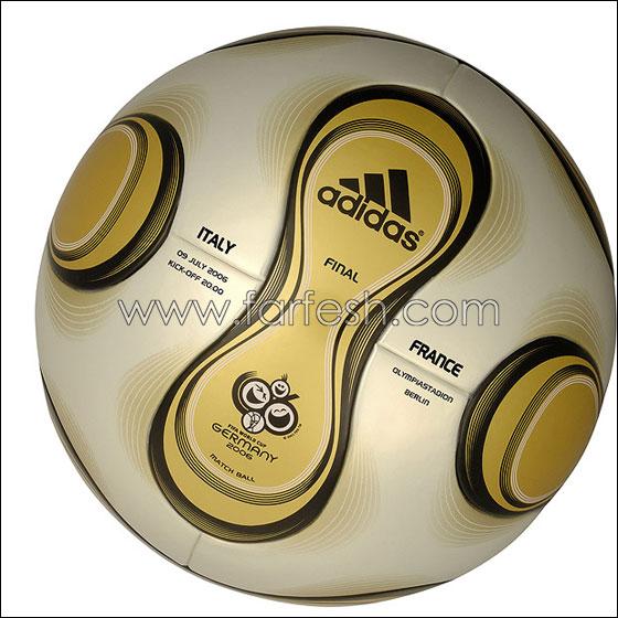 كرة تيم جست الذهبية ( التصميم الخاص ) .. هذه             الكرة استخدمت في المباراة النهائية ( ايطاليا - فرنسا )