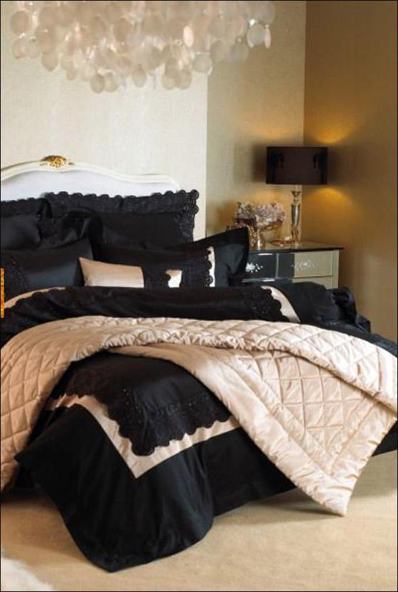 اجمل الديكورات للون الاسود في غرف النوم Bed1