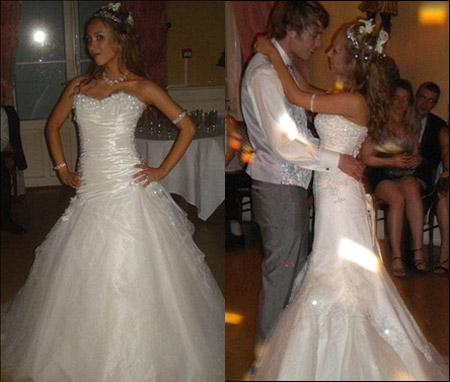 بالصور.. عروس بريطانية تبدل 9 أثواب في حفل زفافها!!