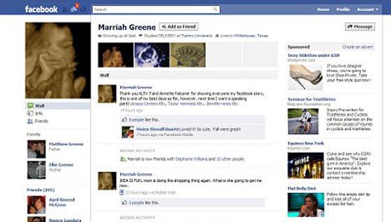 جنين ما زال في أحشاء امه ولديه 260 صديق بالفيسبوك!