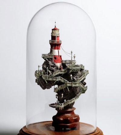 فنان ياباني يبني مجتمعات مصغرة وثلاثية الابعاد بابداعه الخاص!
