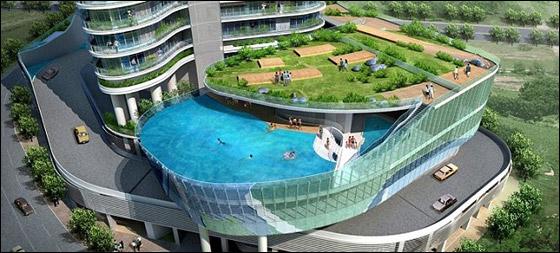 بالصور.. شقق مذهلة تحتوي على احواض سباحة بدلا من الشرف!!