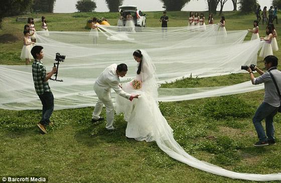 20 فتاة لحمل ثوب عروس طوله 520 مترا ووزنه 50 كيلوجراما