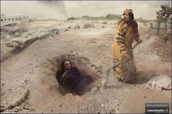 صحيفة جديدة تنشر صور القذافي وهو يدفن مبارك!