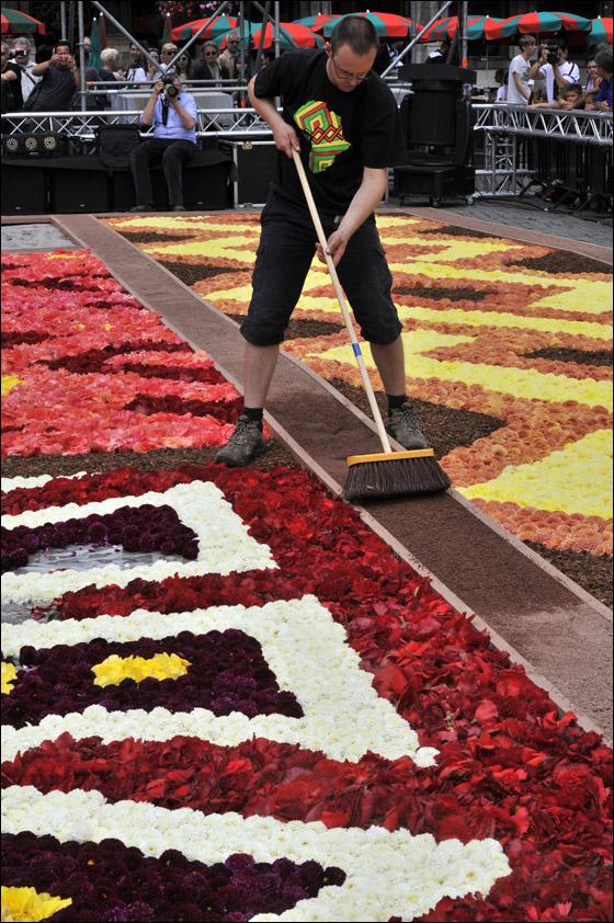 بالصور.. سجادة خلابة تصنع من 600 الف زهرة!