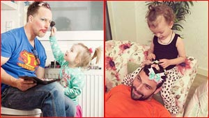 صور مضحكة: فتيات صغيرات يضعن لآبائهن مكياج وتسريحات شعر انثوية!