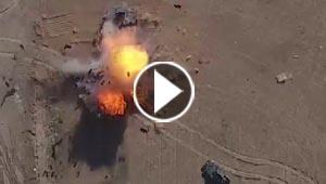 بالفيديو.. داعش يقصف مدرعة عراقية بطريقة مبتكرة