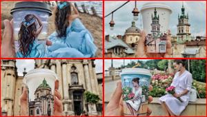 بالصور.. فتاة تحول أكواب قهوتها للوحات مذهلة