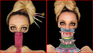 صور مدهشة لفنانة مكياج حولت وجهها لتصاميم مختلفة