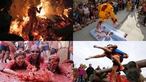 صور اغرب مهرجانات العالم: من الرقص فوق النار الى حمل الزوجات!
