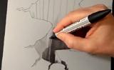 خدعة الفن على رسم على الورق ثلاثي الأبعاد