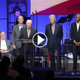 بالفيديو.. لهذا السبب اجتمع رؤساء أمريكا السابقون خلال حفل في تكساس!